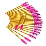 Deksias Disposable 100Pcs Eyelash Gold Brushes for
