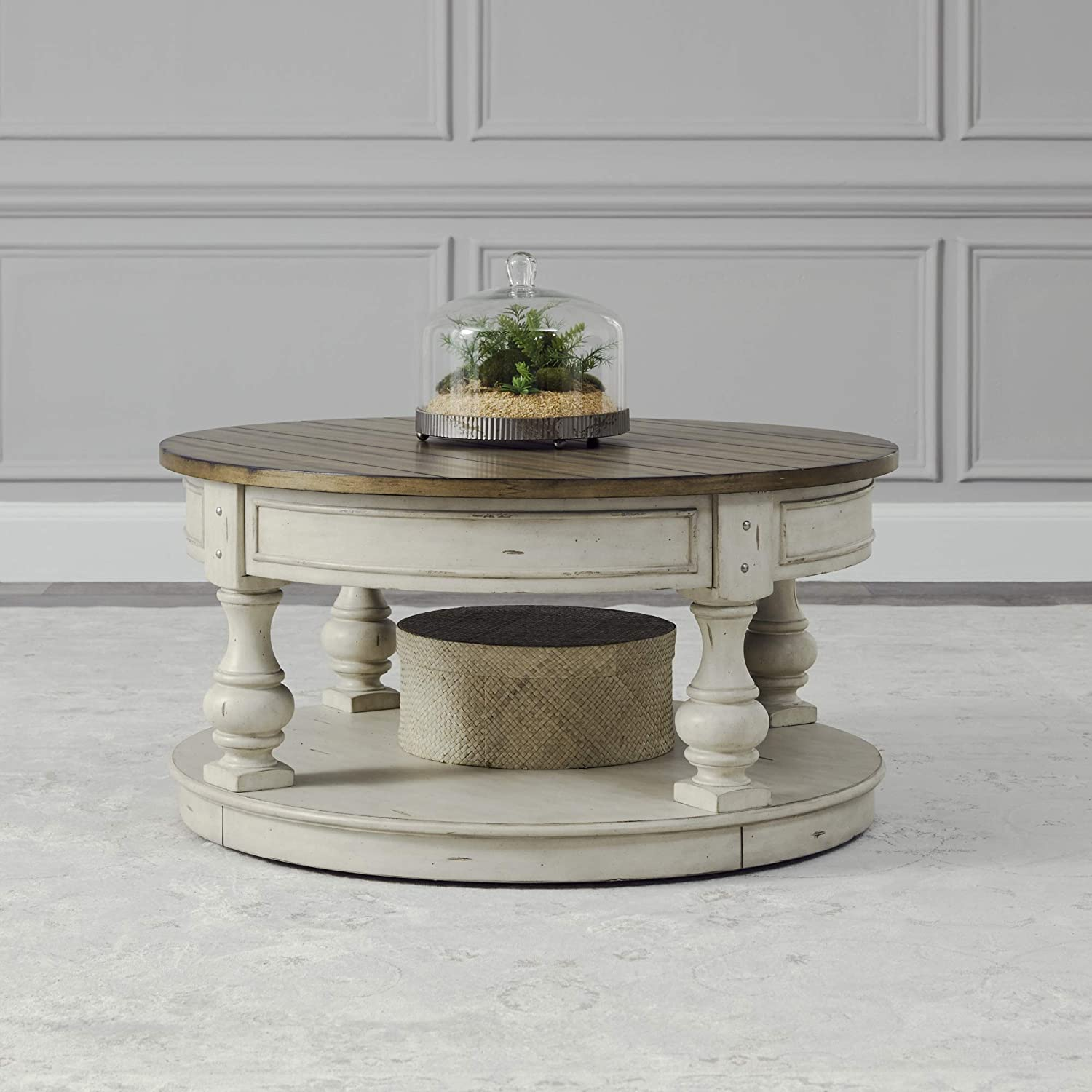 Liberty Furniture Industries Morgan Creek Round Cocktail Table, W38 x D38 x H20, White