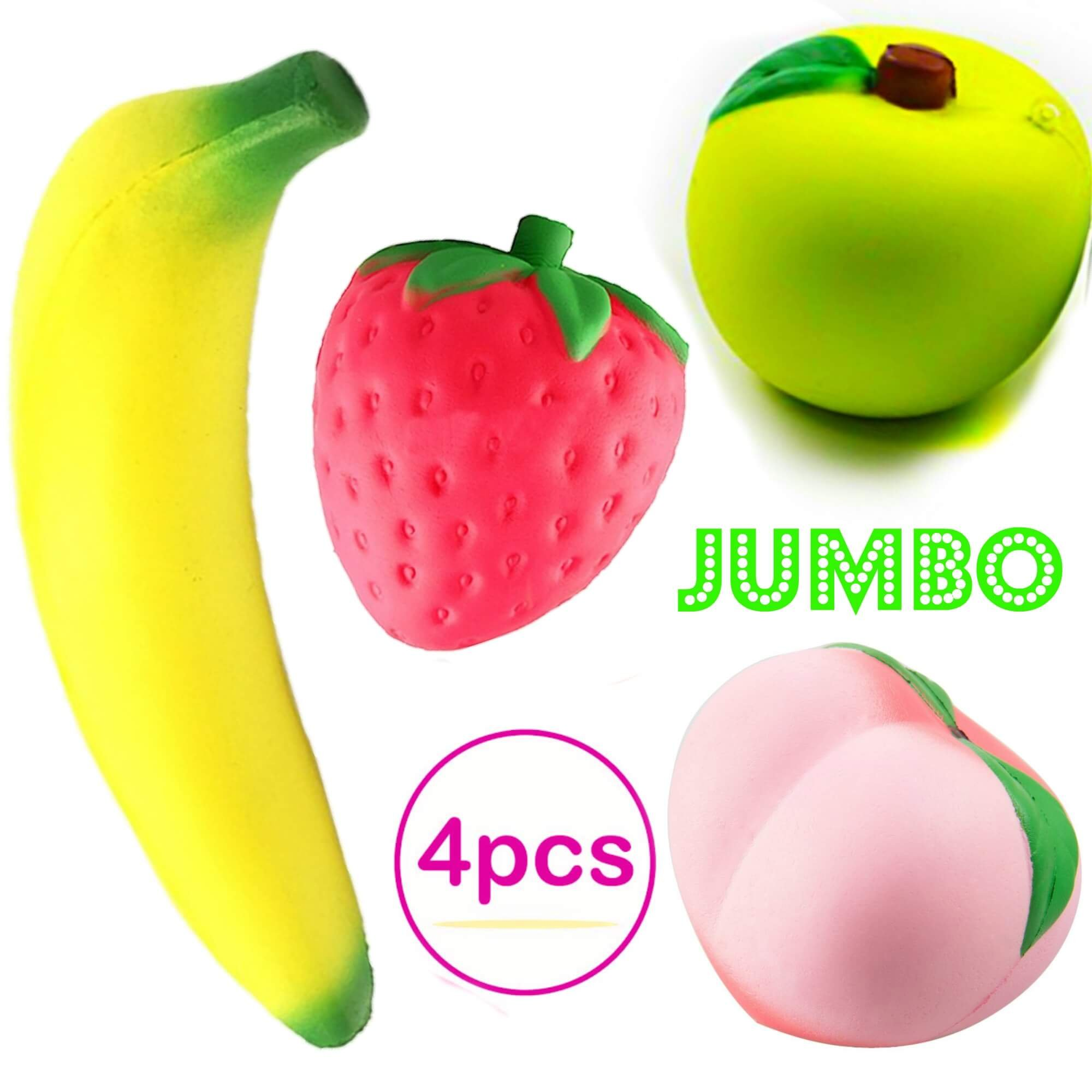 Squishies Slow Rising Jumbo Fruit - Prime 4 Pack Kawaii Squishy Toys Package Strawberry Peach Banana Apple Giant Scented Fruit Pack Cute Squishys Super Soft Stress Relief GIFT For Kids & Adults