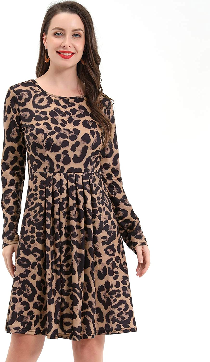 STYLEWORD Women's Long Sleeve Pleated Loose Swing Casual Dress Leopard02
