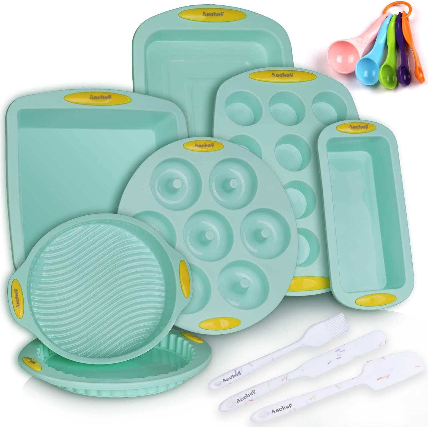 15in1 Solicone Nonstick Baking Pans Mold Tray Supplies Tools Bakeware Set, BPA Free Food Grade for Muffin Donuts Pizza Tiramisu Cake Pan Cookie Sheets Cookware Set with Yellow Hanlde Grip for Oven