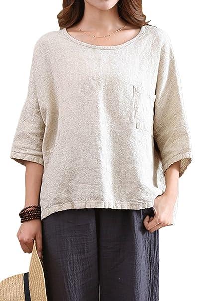 Las Mujeres Ropa De Moda De Verano De Algodón Camiseta Suelta De Manga 3/4 Top Albaricoque One Size: Amazon.es: Ropa y accesorios