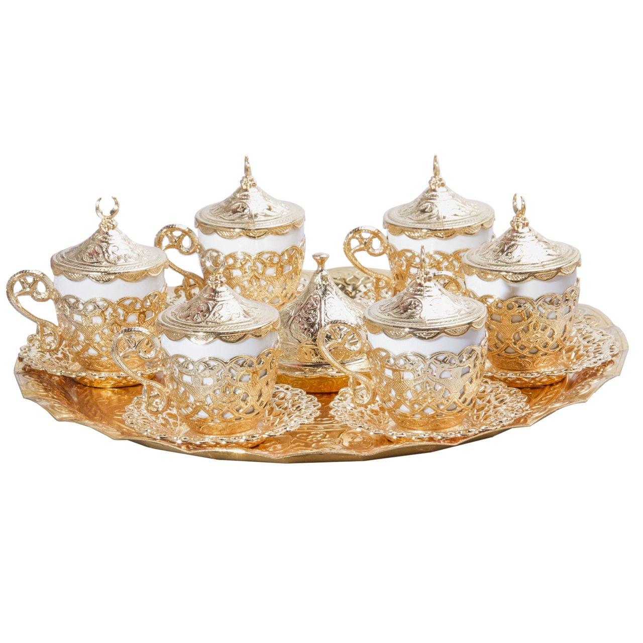 Gold Alisveristime 27 Pc Turkish Greek Arabic Coffee Espresso Cup Saucer Set Gelincik