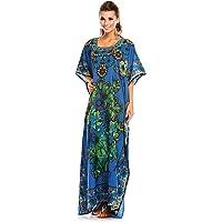 Looking Glam New Ladies Oversized Maxi Kimono Kaftan Tunic Kaftan Dress Free Size