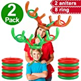 2 Pack Christmas Reindeer Antler Ring Toss Game, Christmas Party Favor for Kids, Inflatable Reindeer Antler Hat with…