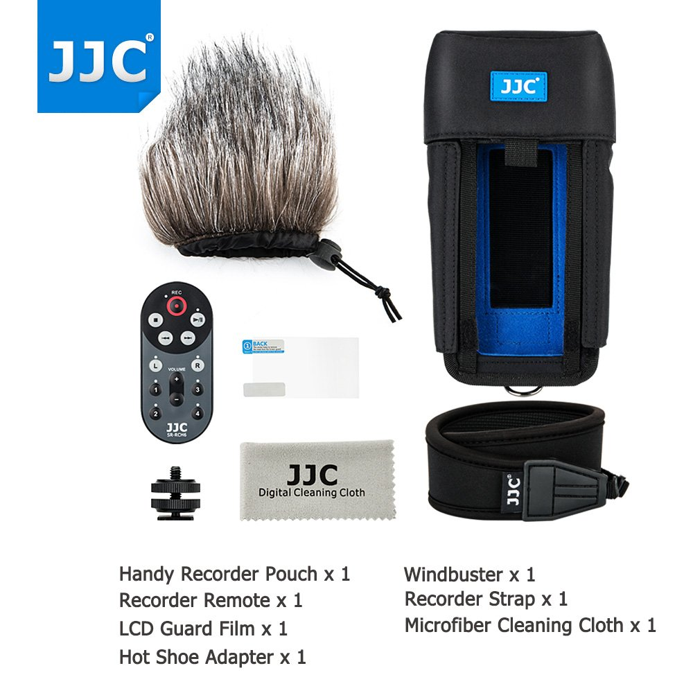 JJC 7in1 Accessory Kit for Handy Portable Recorder Zoom H6 (Protective Case+Wired Remote Controller+Deadcat Windscreen+LCD Screen Protector Film+Hot Shoe Adapter+Neck/Shoulder Strap+Cleaning Cloth) by JJC