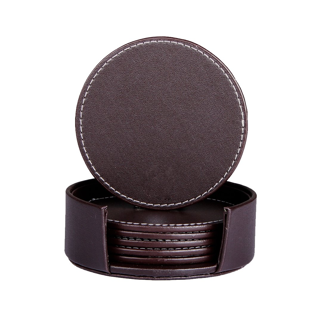 SanPlus Set of 6 Leather Coasters, Protect Furniture from Water Marks Scratch and Damage, Simple and Classy Coasters for Drinks (black)