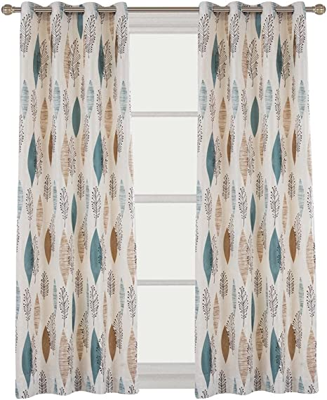 Two 96 x 50  Custom Curtain Panels Indoor Outdoor Blue Green Yellow Orange Teal Foliage Leaves Sunglow