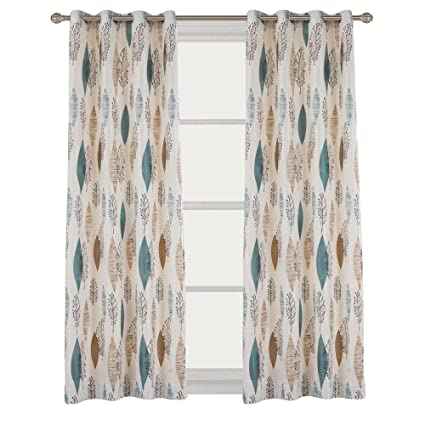 Charmant Cherry Home Grommet Curtains Rustic Print Floral Lined Pair Panel Drapes  Nickle 52Wx72L Inch With 2