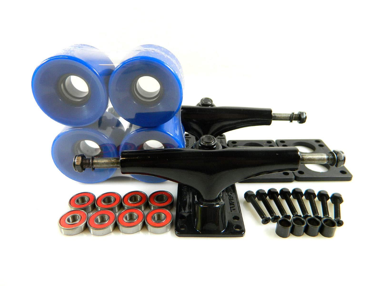 Blue Turbo 5.25 Blk Skateboard Trucks + 60Mm Cruiser Wheels ABEC 7 Bearings Riser Pad