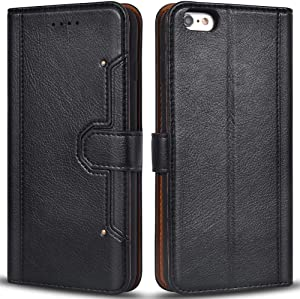 Airkuco Wallet Case for iPhone 6 Plus, Premium Leather Flip Phone Protective Case Cover for Apple iPhone 6 Plus and iPhone 6S Plus (Black)