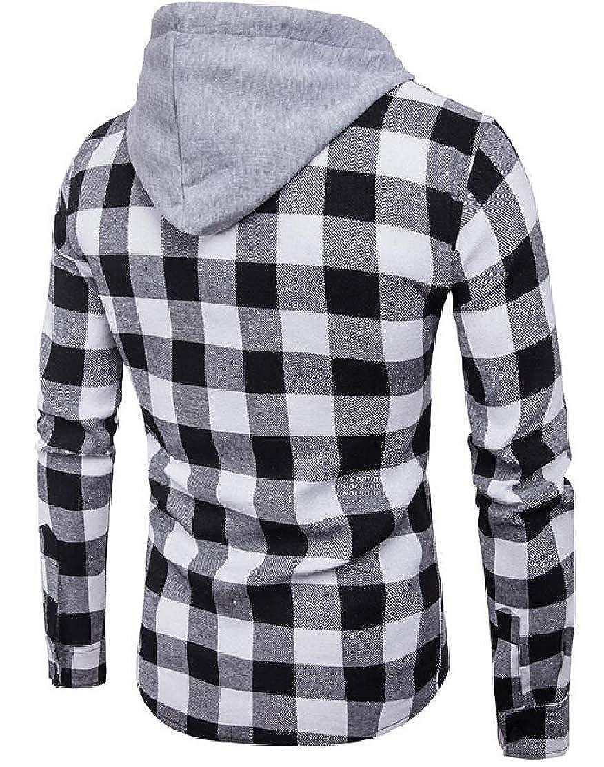 Keaac Mens Plaid Hooded Button Down Shirts Long Sleeve Tops