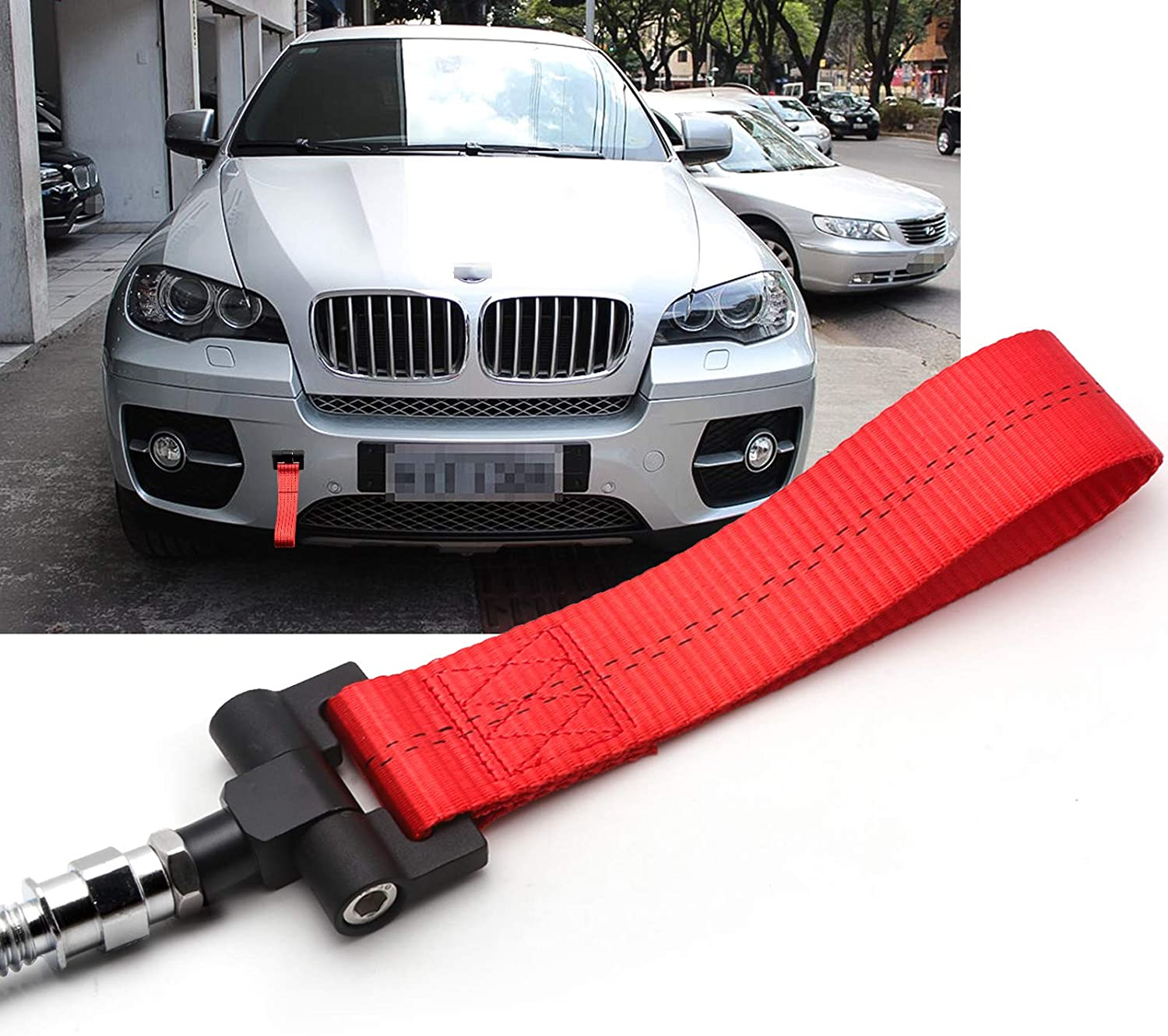 Xotic Tech Black JDM Sporty Tow Hook Adapter with Towing Strap for BMW 1 3 5 6 Series X5 X6 Fit Mini Cooper