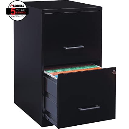 Lorell 14341 18 Deep 2 Drawer File Cabinet, Black