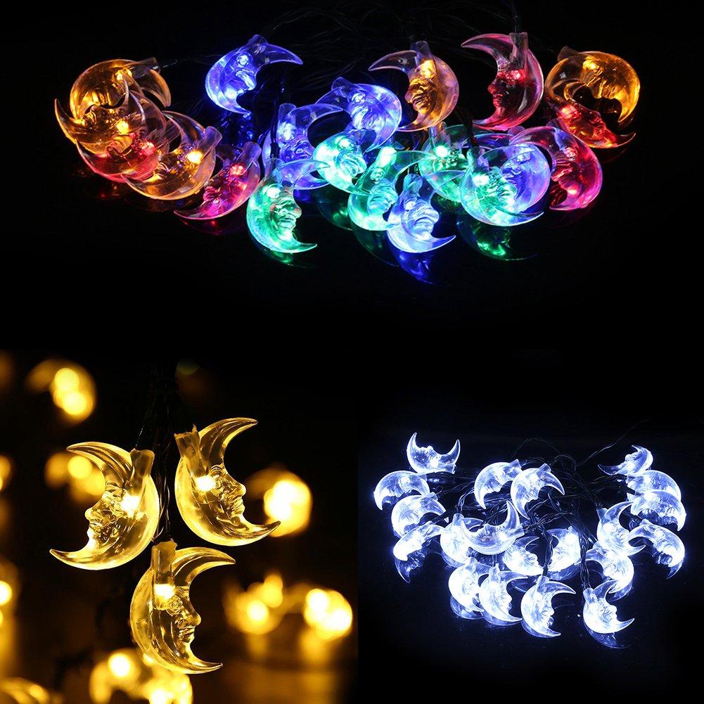 Bluelans Crescent Moon Wedding Party Christmas Decoration String Solar Lights 3.5m 20 LED (Multicolor)