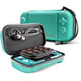 tomtoc Carrying Case for Nintendo Switch Lite, Portable Travel Storage Protective Case with 24 Game Cartridges and Original Patent for Switch Lite Console and Accessories, Turquoise