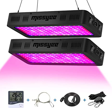 Thermometer Humidity Monitor and Adjustable Rope Missyee 2-Pack Full Spectrum Plant Light with UV//IR for Indoor Plants Veg Flower Veg /& Bloom Double Switch Grow Lamp 1200W LED Grow Light