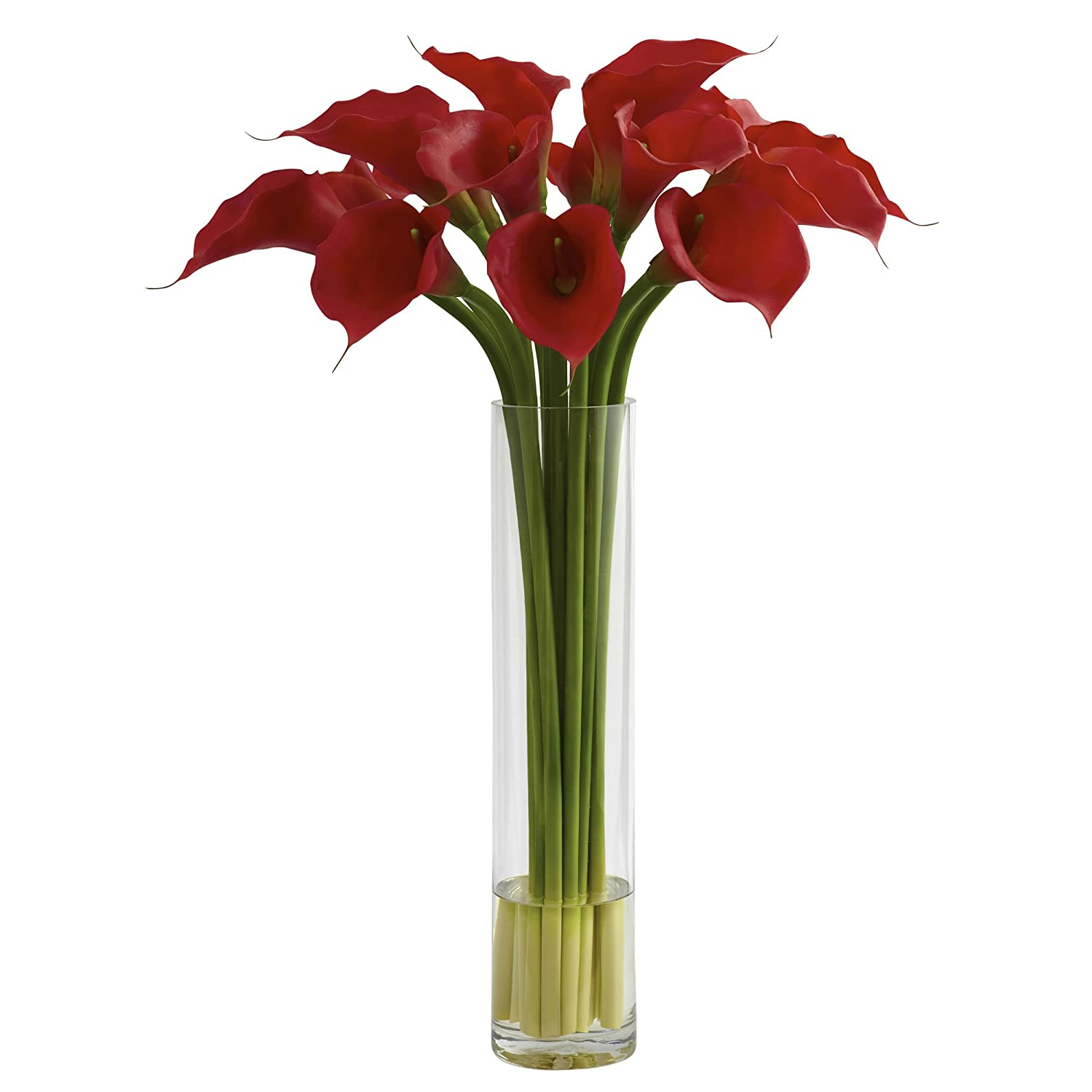 Nearly Natural 1347 Red Calla Lily with Large Cylinder Vase