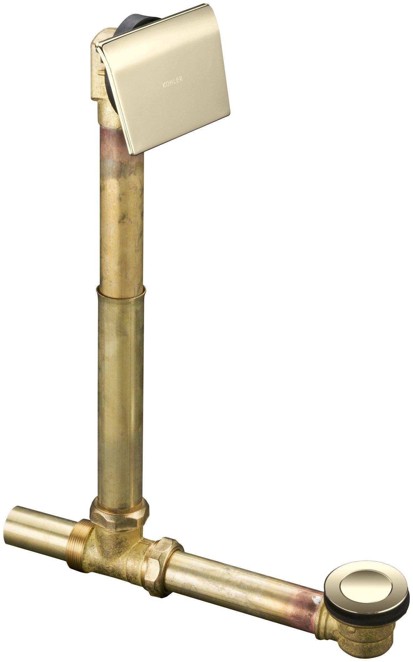 Kohler K-7148-AF-AF Clearflo 1-1/2'' Contoured Pop-Up Drain and Overflow for Above- or Through-The-Floor Installation, Vibrant French Gold by Kohler