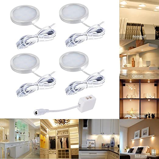 4pcs LED Under Cabinet Lighting Fixture, Interior Puck Lights For Kitchen,  Closet Lights,