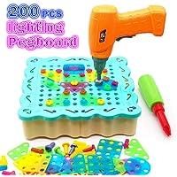 Juguetes Montessori Puzzle 3D DIY 200 Piezas Rompecabezas Bloques Construccion con Taladro de Juguete y 12 Luces LED…