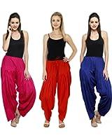 Pistaa Combo of Womens Solid Cotton Rani Pink,Red And Royal Blue Best Ethnic Comfort Punjabi Semi Patiala Salwar Bottom Pant