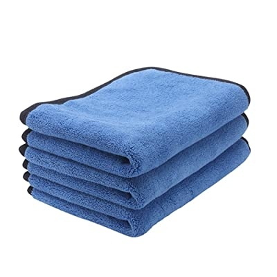 ZYTC Microfiber Cleaning Cloth Lint Free Dual Layer Ultra-Thick Microfiber Towel Car Polishing Waxing Cleaning Detailing Cloth Microfiber Car Towels Blue 12 x 16 inch 3 Pack: Automotive