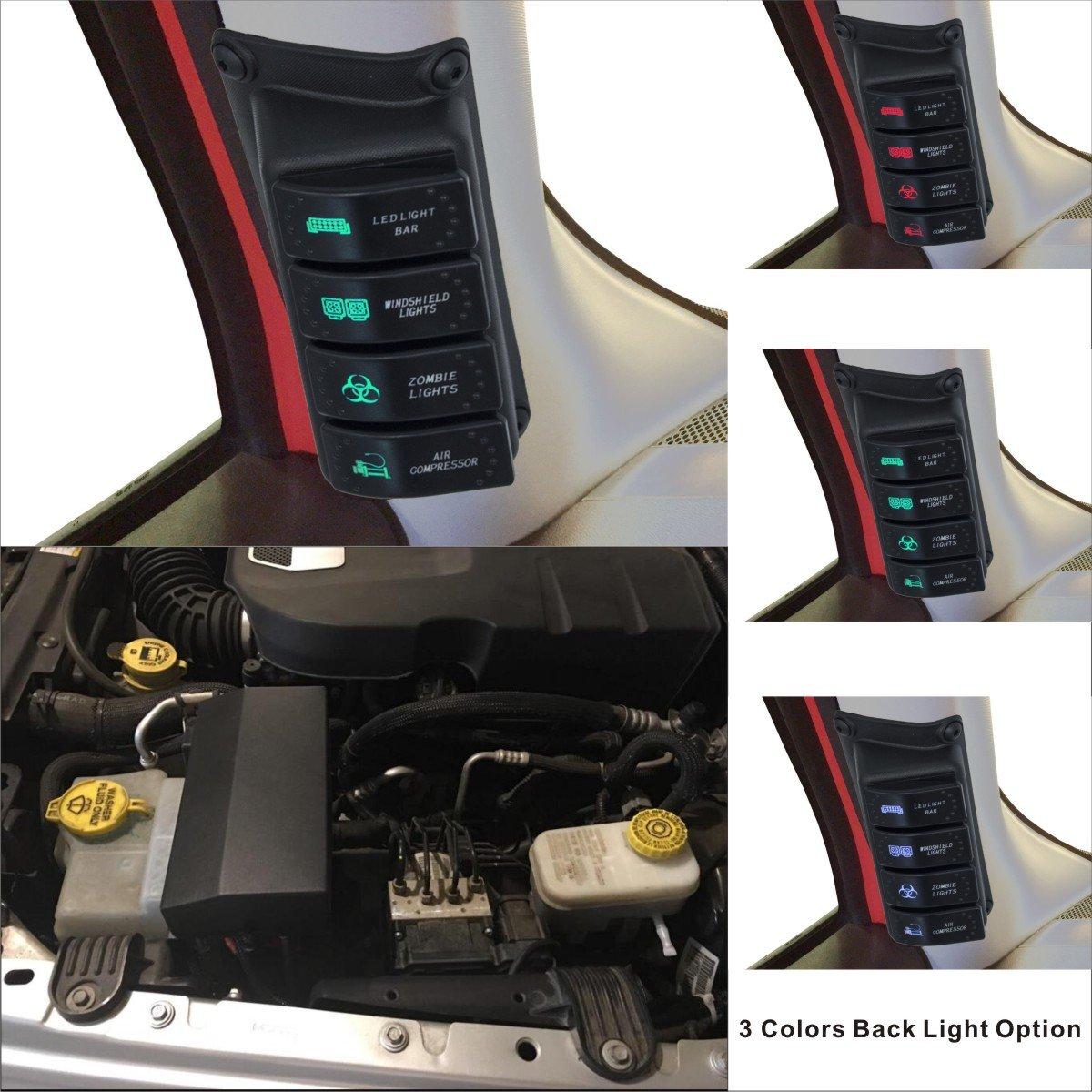 Apollointech Left Side A-Pillar 4-Switch Pod/Panel & Source Control System Fit Jeep Wrangler JK & JKU 2007-2017(Red Back Light)