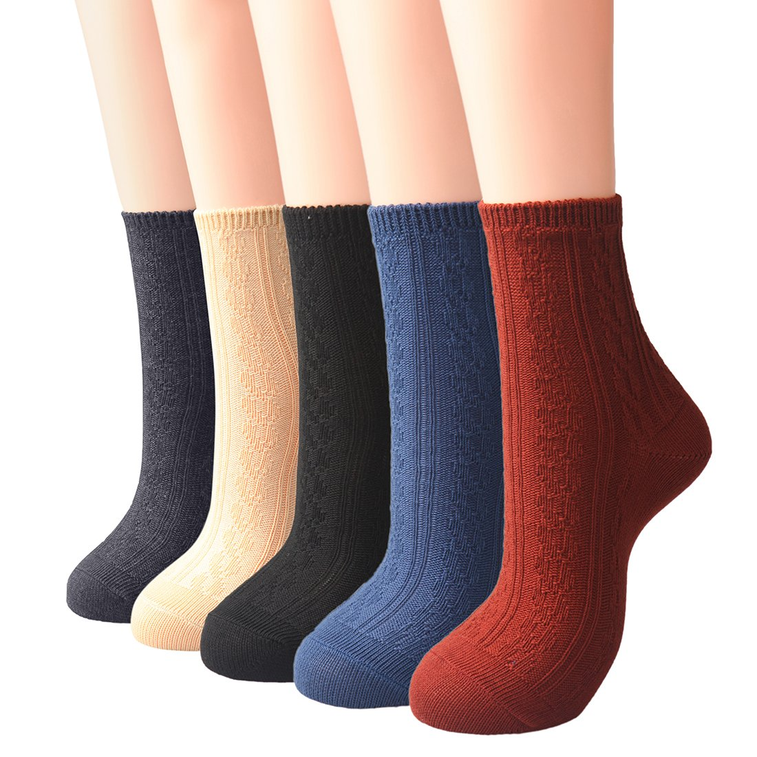 Neeseelily 5 Pack Women's Warm Winter Cotton Ribbed Knit Casual Crew Socks (One Size, multicolored)