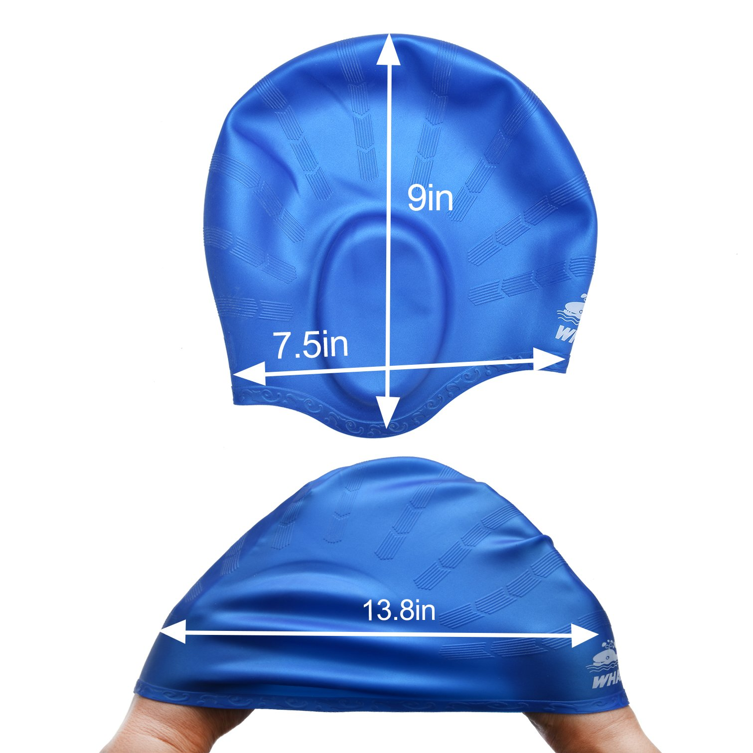 Cover Ears Swim Caps for Long Hair 100% Silicone Swimming Hat for Unisex Adult KIds Reduce Water Intake Makes Your Hair Clean(blue)