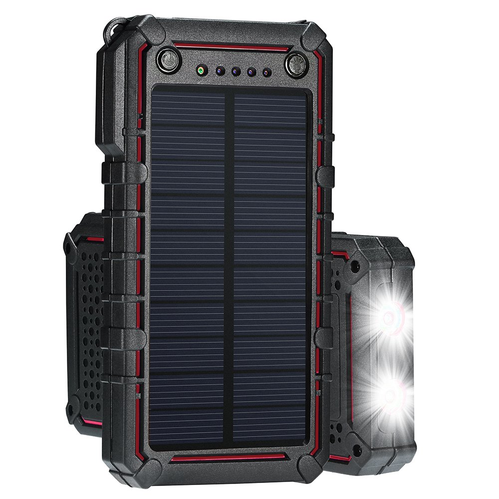 Ayyie Solar Charger, 13500mAh Portable Solar Power Bank, External Solar Panel Battery Pack Phone Charger with Dual USB and 2 LED Flashlights for iPhone 8/8 Plus, Samsung S8/Note 8 and More