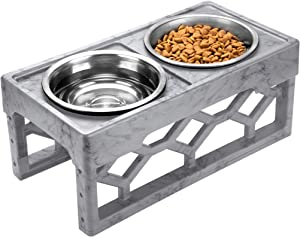 AVERYDAY Lifted Bowls Modern Raised Dog Feeder - 4 Adjustable Dog Bowl Stand with 4 Stainless Steel Feeding Bowl - Perfect Elevated Dog Bowls Dog Bowl Stands For Large Dogs and Senior (Marble-Grey)
