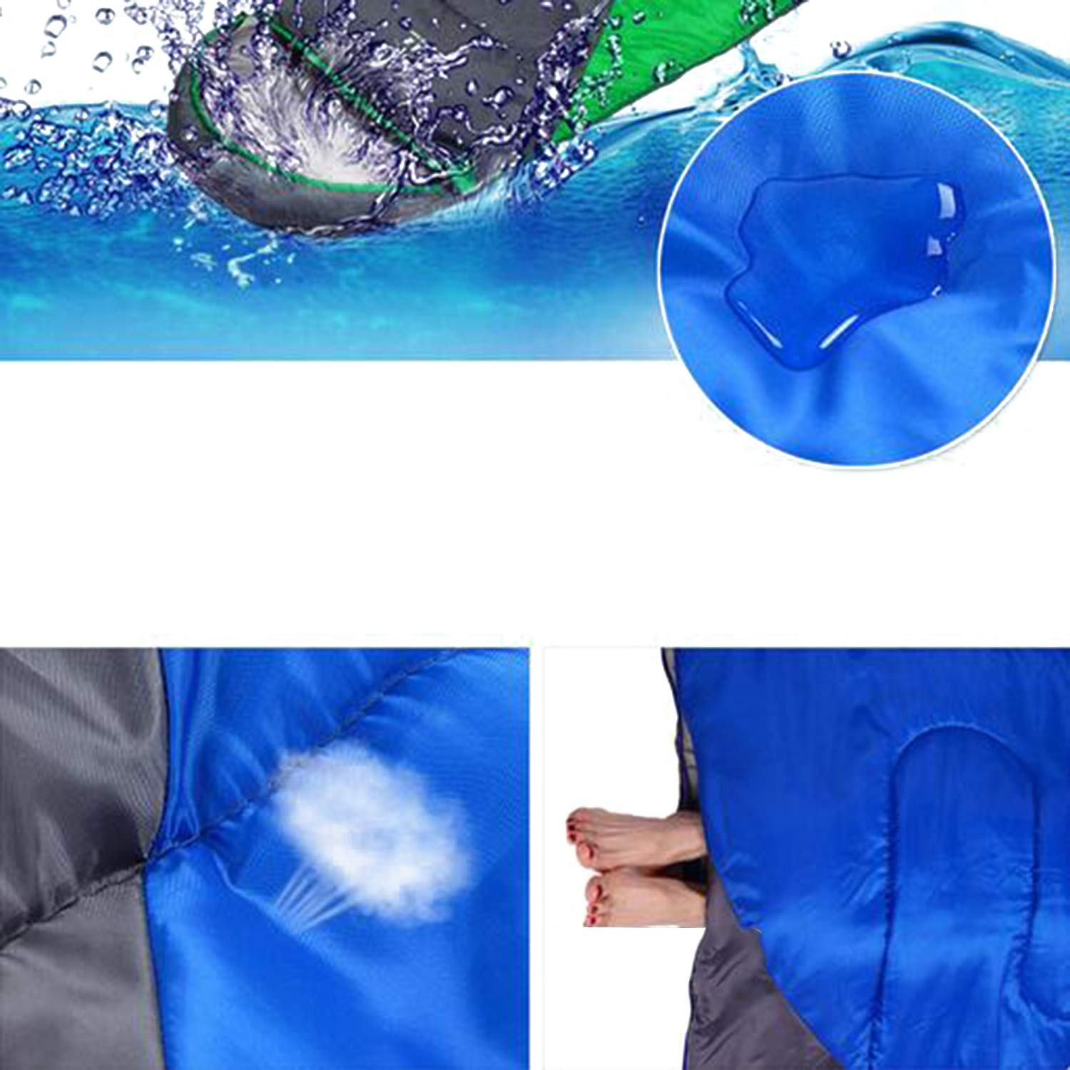 Frühling/Winter Warm Camping Schlafsack Waterproof Super Light Mittagspause Büro LNYF-OV Portable Cotton Schlafsack Outdoor Blau Größe: 220 * 75cm