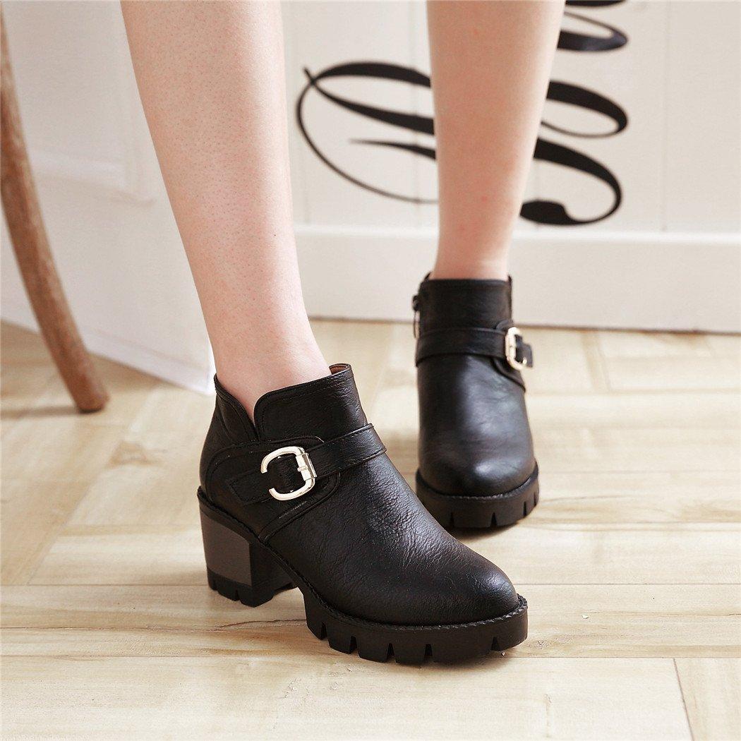 ZQ@QX Herbst Taiwan und Winter runden Kopf wasserdicht Taiwan Herbst dick mit seitlichem Reißverschluss und vielseitigen Rohstoff Stiefel weibliche Stiefel schwarz cc6259