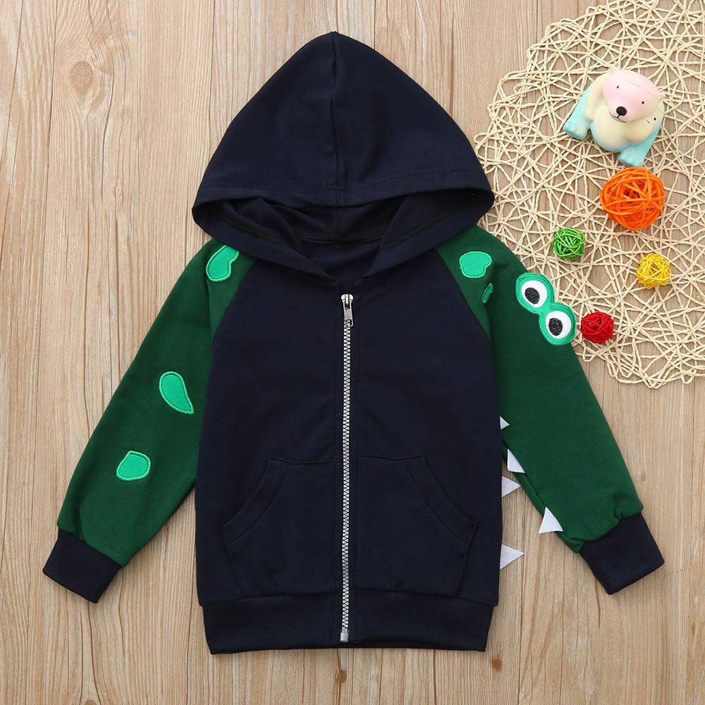 KONFA Toddler Baby Boys Girls Cartoon Crocodile Hoodie Pullover,Kids Hooded Zipper Jacket Coat Fall Winter Clothes