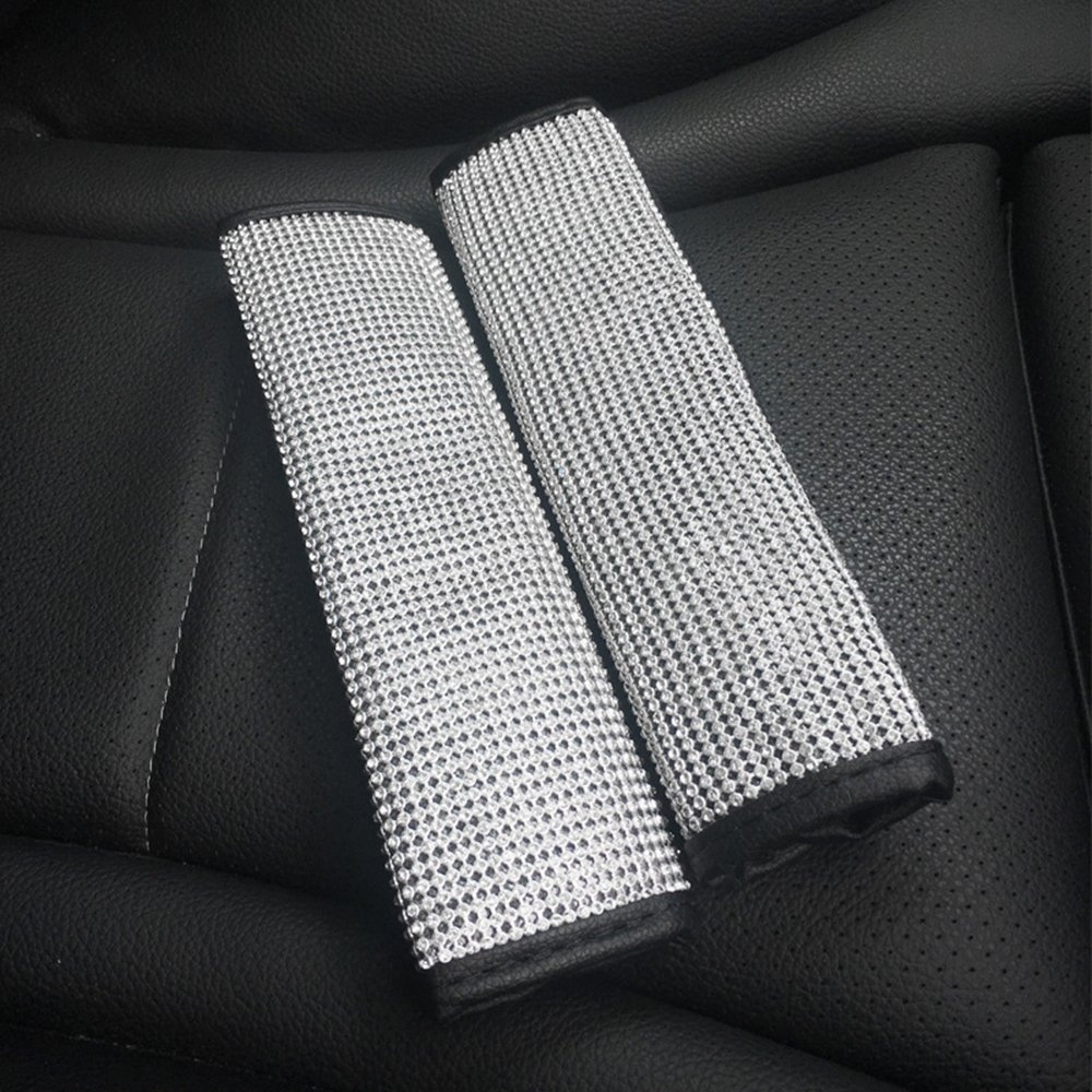U&M 2 Packs Bling Bling Seat Belt Shoulder Pads, Luster Crystal Car Seatbelt Covers Diamond Car Decor Accessories for Women