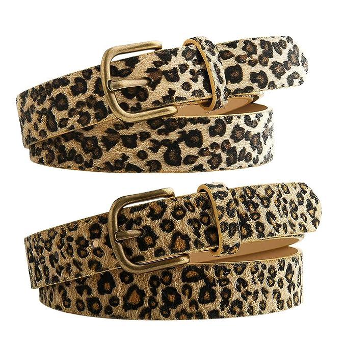 codice promozionale f567b dbf1c Bolonbi - Cintura da donna in pelle leopardata, con fibbia in lega ...