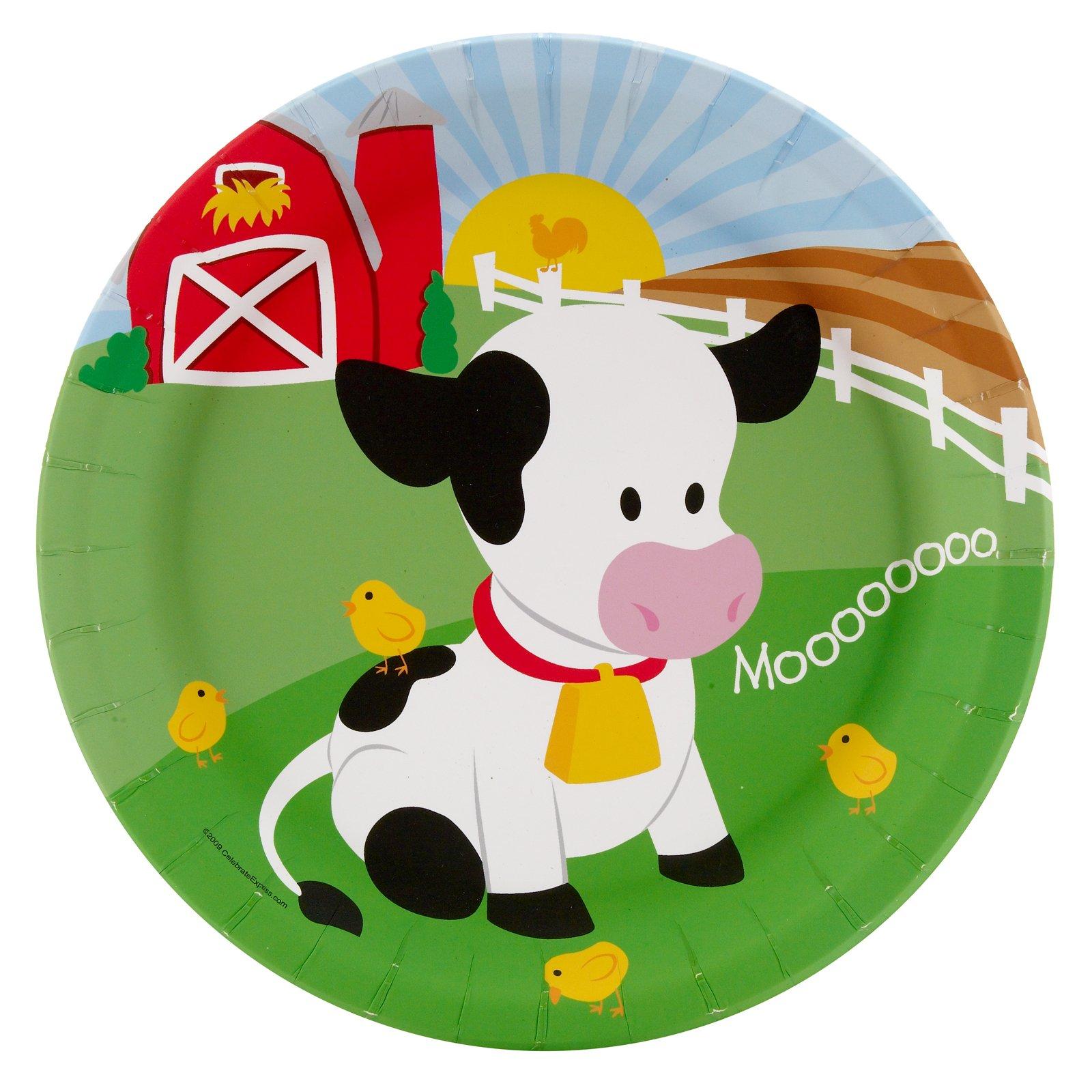 BirthdayExpress Farm Animal Party Supplies - Dinner Plates (8)