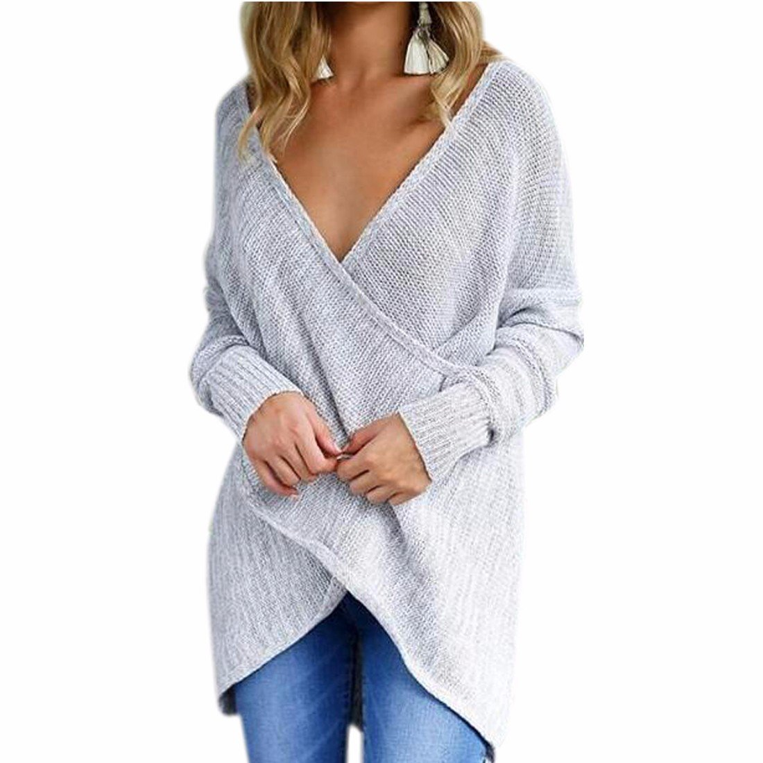 Paixpays Women'S V Neck Long-Sleeve Pullover Sweater Criss Cross Wrap Front E9054S0111