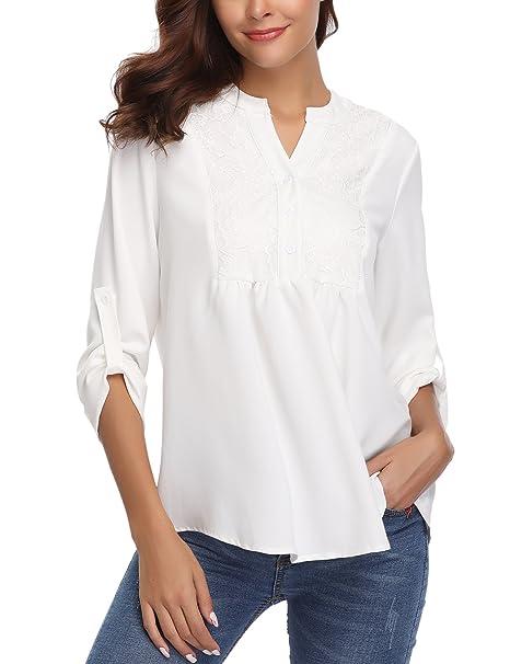 più recente 32ca7 53c19 Abollria Camicia Donna Elegante a Maniche Lunghe Regolabili Blusa ...