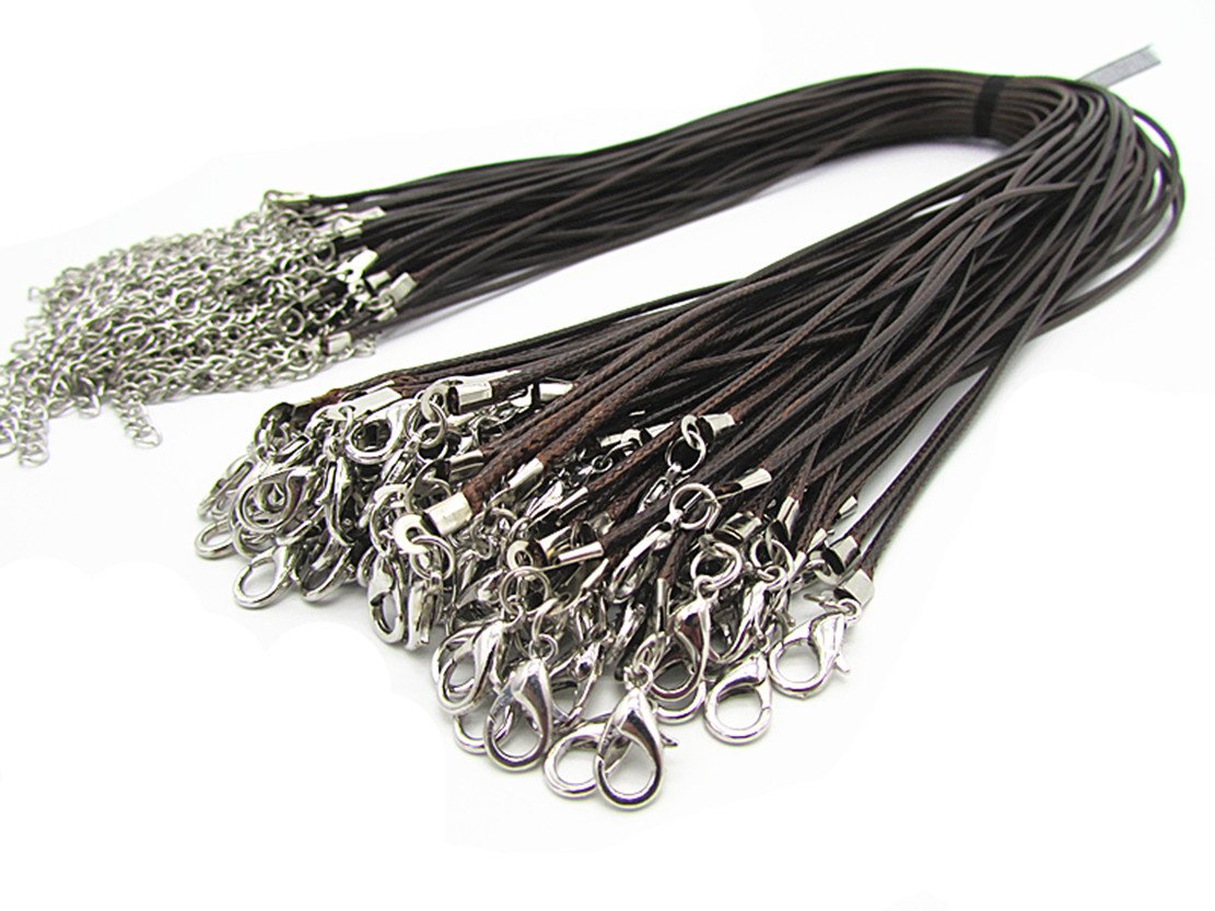 Wonderful 20 Pieces Coffee Braided Leather Cord Rope Necklace Chain with Lobster Claw Clasp 1.5mm 4336826419