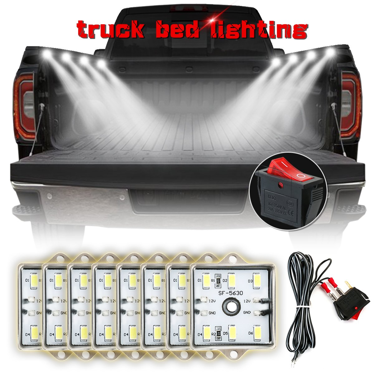 AMBOTHER 8Pcs LED Lights for Truck Bed White Pickup Bed Light with 48 Super Bright LEDs, Waterproof Universal for Dodge Chevrolet Ford Jeep Pickup RV SUV GMC 4336327185