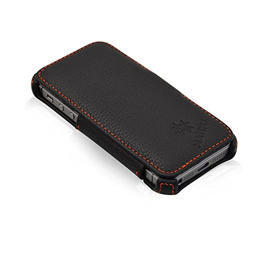 74 opinioni per Custodia per Apple iPhone SE in vera pelle Nappa Nera con funzione Stand- Cover