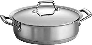 Tramontina 80101/005DS Gourmet Prima Stainless Steel, Induction-Ready, Impact Bonded, Tri-Ply Base Covered Casserole, 5 Quart, Made in Brazil