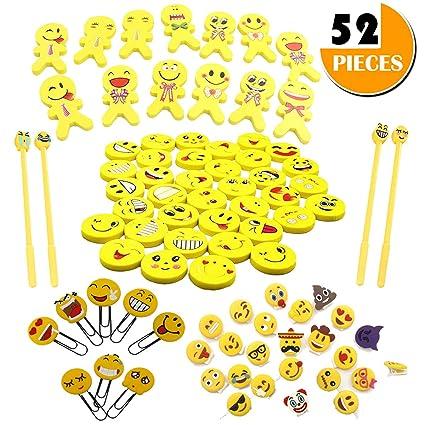 amazon com emoji emoticon erasers assorted stationery bulk kit 52