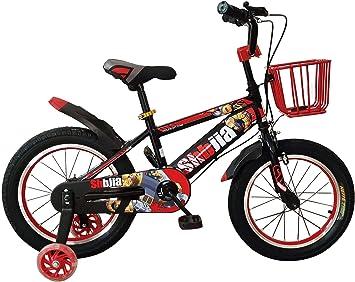 Bicicleta infantil con cuadro de acero con ruedas de apoyo y cesta ...