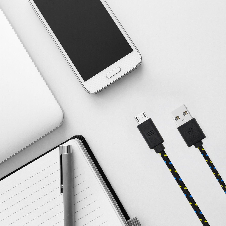 [Lot de 3] Câble Micro USB Tressé, Chargeur Samsung 1m+2m+3m, Cordon en Nylon Tressé, Bazar Express Câble Chargeur USB Micro USB, Charge Rapide pour Samgung Galaxy, HTC, Sony, Huawei, Nexus, Asus (Noir)