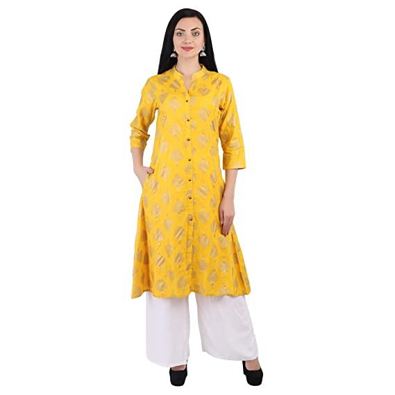 7c39538d499 EveRnu Leaf Print Mustard-Off-White Women s Kurti with Rayon Palazzo Set  (with