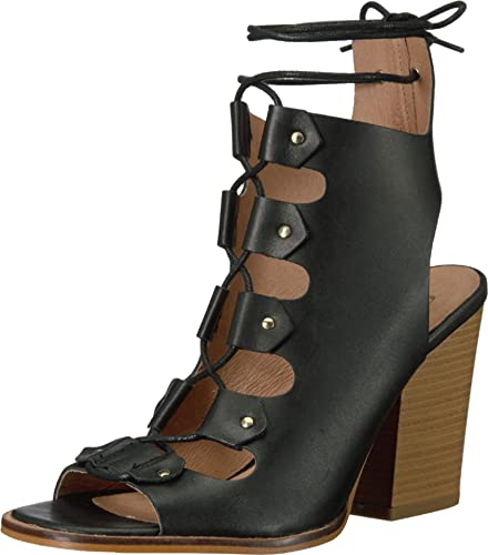 44c3eebf8875 Shellys London Linda Tie Up Black Leather Crisscrossed Block Heel Ghillie  Sandal (36)