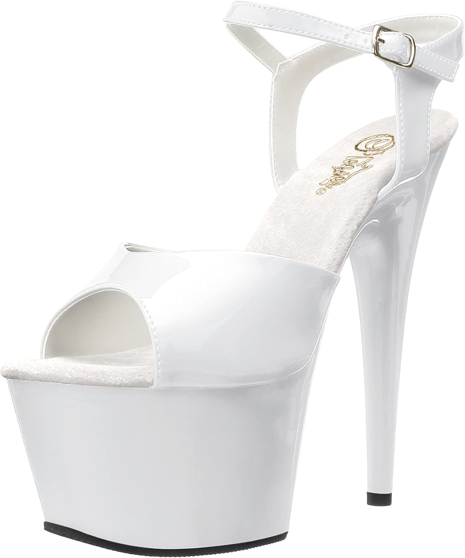 Pleaser Womens Adore-709//W//M Platform Sandal,White//White,7 M US